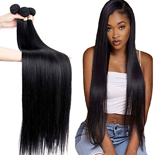 FDX Brazilian Straight Hair Bundles 30 30 30 Inch 100% Unprocessed Straight Bundles 8A Virgin Human Hair Bundles Weave Extensions Natural Color