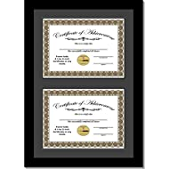 """Creative Picture Frames 14""""x20"""" Black Double Diploma Frame with Black Matting Holds Two 8.5 x 11 -inch Media and Installed Wall Hangers"""