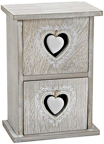 marion10020 Schmuck-Schränkchen aus Holz mit 2 Herz-Schubladen Schmuckkästchen Organizer Schmuckkasten