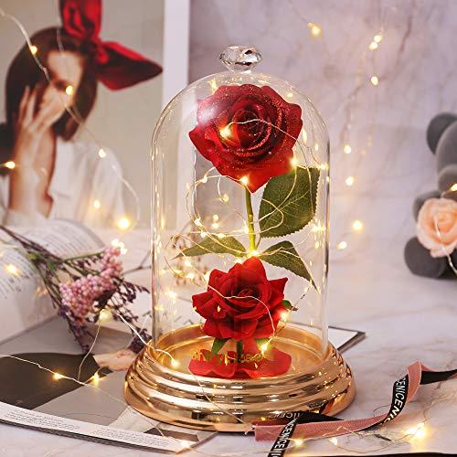shirylzee Rosa Encantada La Bella y Bestia Flower Lámparas Rosas Artificiales Seda Glass Dome Luces LED Base de Cobre Regalos Día de la Madre Aniversario Bodas Cumpleaños San Valentin Mujer romantico