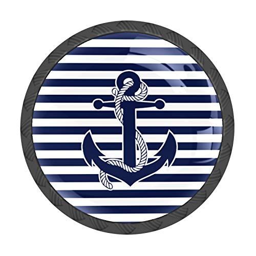 FCZ 4 pomos de cajón con diseño de ancla náutica, con diseño de rayas azules, con forma de círculo, de cristal, con tornillos, para el hogar, la cocina, la oficina