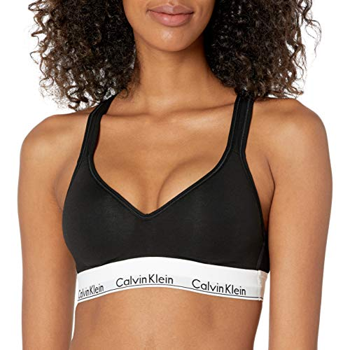 Calvin Klein Women's Modern Cotton Lightly Lined Bralette, Black, Medium