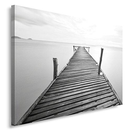 Feeby Frames, Cuadro en lienzo, Cuadro impresión, Cuadro decoración, Canvas 40x60 cm, PUENTE, BLANCO Y NEGRO