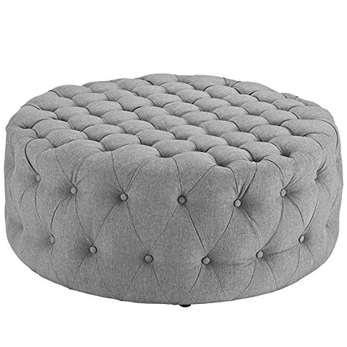 Modway Amour Fabric Upholstered Button-Tufted Round Ottoman in Light Gray