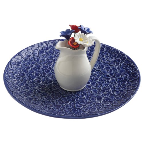 Grasslands Road American Bloom Ceramic Appetizer Serving Tray with Picks in Pitcher Holder, 8-Inch, Gift Boxed