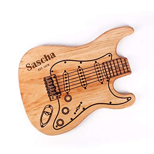 Cera & Toys® Großes Schneidebrett Gitarre aus Holz mit Gravur des Namens + Geburtsjahr