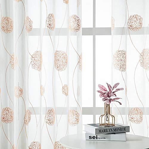 Bestickte halbdurchsichtige Vorhänge für Wohnzimmer, Blumenstickerei, Vorhang, 183 cm Länge, Nestmuster, Voile, Vorhangpaneele für Blumenfenster, 2 Paneele, Taupe auf Weiß