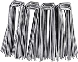 Fixkit Set of 100 Fixing Stakes, 150MM Long, 25MM Wide, Ø 3MM, Galvanized Steel, U-Shaped, for Weed, Garden Hose, Fence and Net