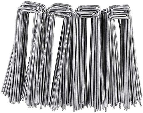 FIXKIT 100 Erdanker verzinkt Uförmige Erdanker für Unkrautvlies und Gartenarbeit - Grass Tuchnagel, Rasenhalter, Dreidimensionaler Netzwerkstecker-150 * 25 * 3