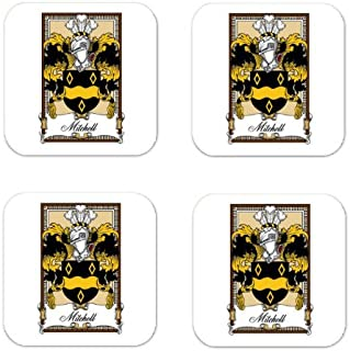 Mitchell Family Crest Square Coasters Coat of Arms Coasters - Set of 4