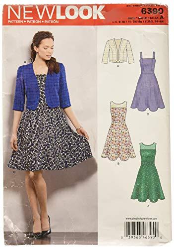 New Look 6390Größe A Schnittmuster Kleider mit vollständiger Rock und Bolero Schnittmuster, Mehrfarbig