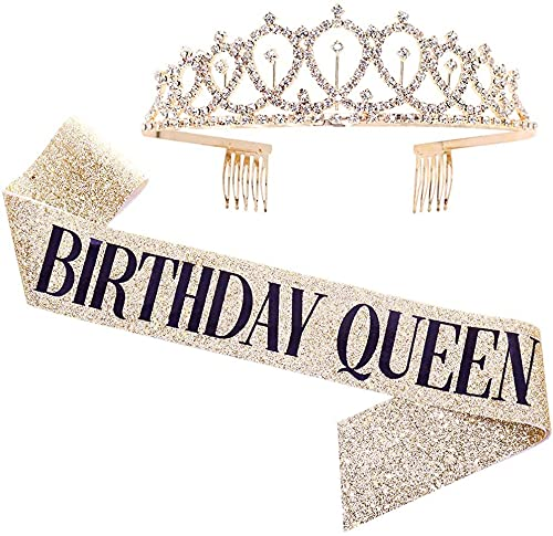 nuoshen Birthday Crown Costume Set, Crystal Tiara Birthday Crown and BIRTHDAY QUEEN Sash for Birthday Celebration Party Supplies and Decorations(Crown 12*4CM, Shoulder Strap 158*9.5CM)