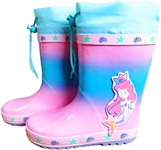 Kids Rain Boots Toddlers Waterproof Rubber Shoes Girls Cartoon Mermaid Wellies Outdoor Non Slip Boots