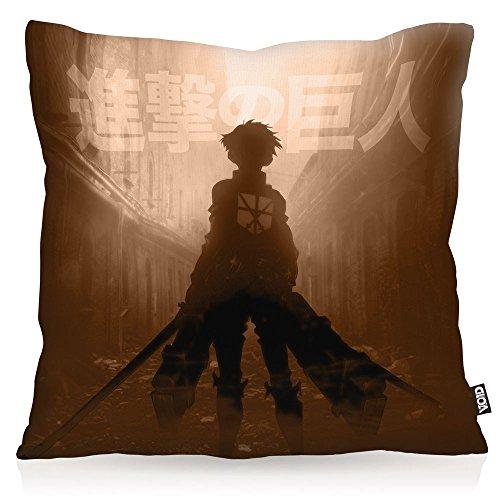 VOID Chasseur des Titans Oreiller avec motif taie d'oreiller housse outdoor indoor attaque des, Kissen Größe:60 x 60 cm