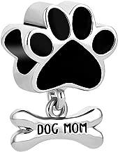 QueenCharms Cute Dog Paw Bone Charms Dog Mom Beads Bracelets
