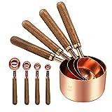 Juego de 8 tazas y cucharas medidoras de cobre de acero inoxidable con mango de nuez, magnífico y resistente, pulido espejo para cocina, hornear, todos los ingredientes que miden oro rosa