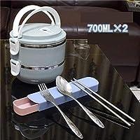 和風弁当サーモステンレススチールプラスチック製ラウンド大人レディキッド食品容器多機能ポータブル弁当箱セットBlue_2_Layer CT55CT (Color : Blue 3 Layer)