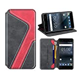 MOBESV Smiley Nokia 5 Hülle Leder, Nokia 5 Tasche Lederhülle/Wallet Hülle/Ledertasche Handyhülle/Schutzhülle mit Kartenfach für Nokia 5, Schwarz/Rot