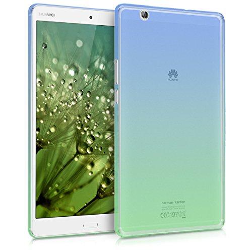 kwmobile Hülle kompatibel mit Huawei MediaPad M3 8.4 - Silikon Tablet Cover Hülle Schutzhülle - Zwei Farben Blau Grün Transparent