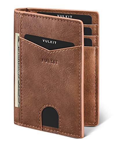 VULKIT Cartera Tarjetero Minimalista Hombre RFID Bloqueo Delgado Tarjeteros para Tarjetas de Credito Cuero con 10 Compartimentos para Tarjetas y Billetes - Marrón