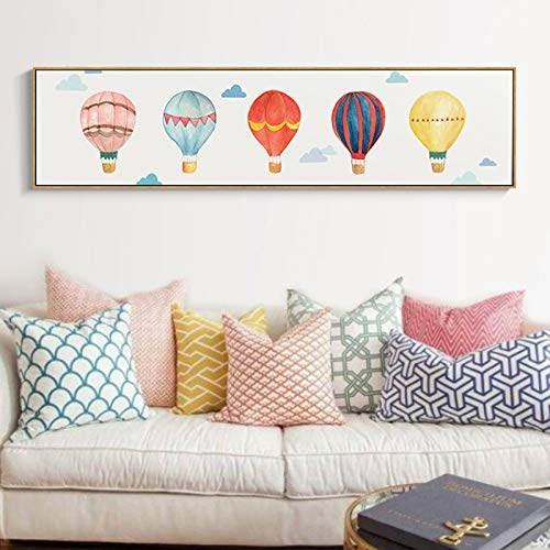 N / A Modern Hot Air Balloon Sky Poster Canvas Printing Painting Mural Picture for Bedroom Children Room Home Decoration Frameless 80x20 cm