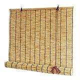 QQF Estores para Ventanas sin Taladrar Cortina Bambu, Cortinas y Estores Cocina, Transpirable, Protector Solar y Privacidad(Size: 140x155cm)