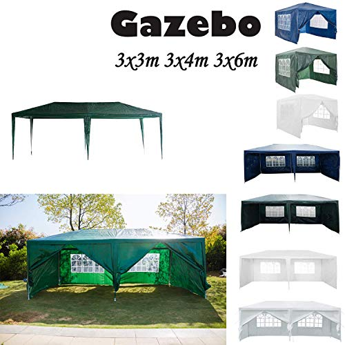 Küchenks 3M x 6M Gazebo Tent Marquee Canopy Powder Coated Steel Frame for Outdoor Wedding Garden Party Camping, with 6 Side Panels, Waterproof, Green (Type A)
