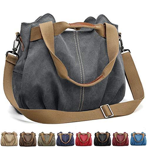 SCIEU Handtasche Damen Canvas Schultertasche Multifunktionale Umhängetaschen Casual Hobo Groß Taschen für Arbeit Schule Beach Shopper Grau