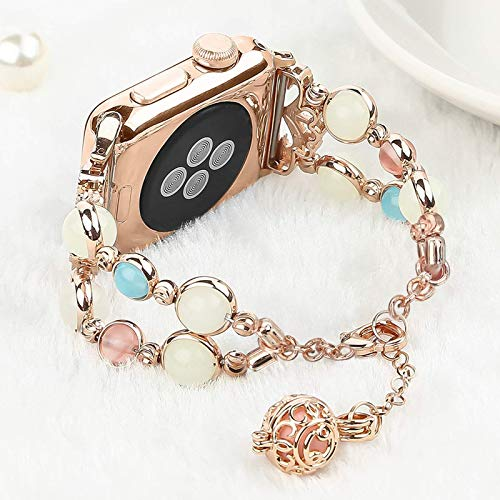 Light Compatible with Apple Watch Band, Elastic Beaded Night Luminous Pearl Beautiful Women Girl Band Strap Compatible with iWatch Series7 6 5 4 3 2 1 SE (Rose Gold/Gold Aluminum, 42mm/44mm(8-10in))