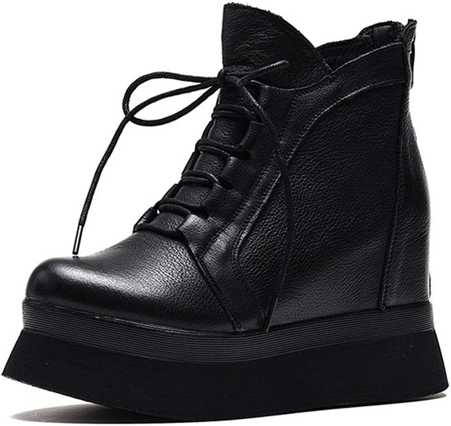 Women's Leather Boots Spring Autumn Invisible Heightening Platform Booties Wedge Lace Up Platform shoes Casual Daily Walking shoes (color   Black, Size   39)