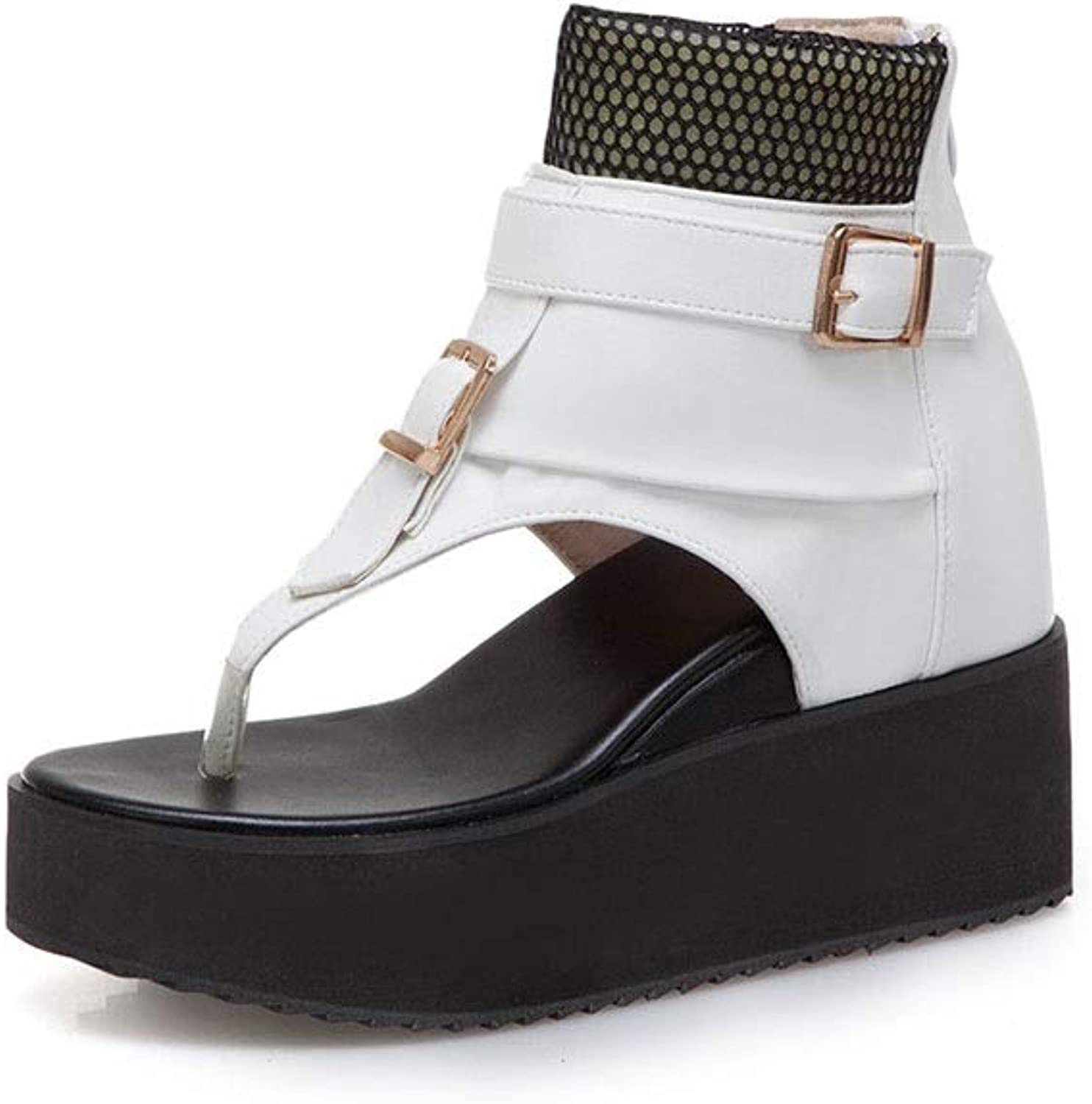 Women's Fashion and Comfortable Round Head with Thick-Soled Sandals and Zipper Open Toe shoes (color   A, Size   35)