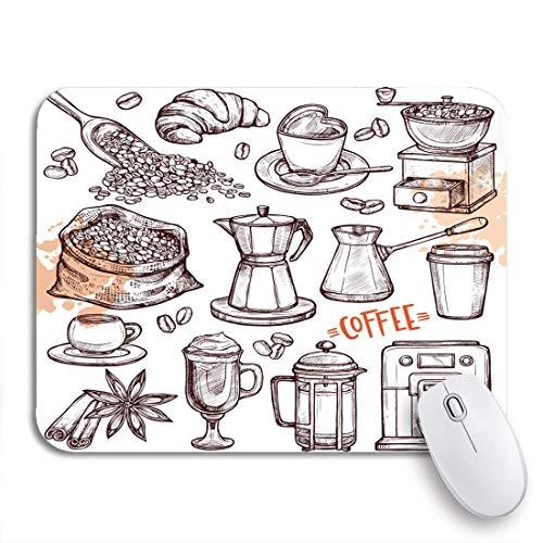 Gaming mouse pad kaffee sammlung sketch turk cups bohnen croissant mill maker rutschfeste gummi backing mousepad für notebooks computer maus matten