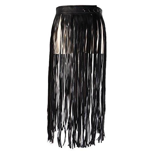 Sharplace Boho PU Leder Lange Wrap Taille-Gürtel mit Fransen Rock Gürtel -Schwarz