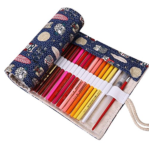 ONEGenug 48 hoyos Bolso de lápices de colores lienzo Primavera-Case, Roll up pencil case, Accesorios del artista, Lápices de colores para pintar, escribir, dibujar, colorear, dibujar, escuela, oficina