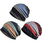 Zando Unisex Soft Beanie Cap Striped Slouchy Chemo Hat Travel Scarf Turban Cozy Skull Cap Lightweight Stretch Sleep Hat for Men Women Blue & Red & Camel Blue One Size