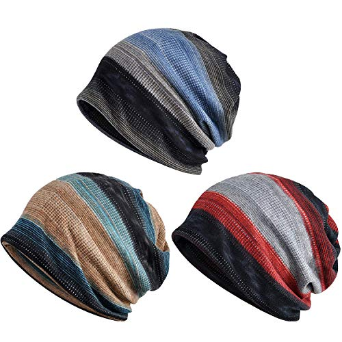 Zando Unisex Soft Beanie Cap Striped Slouchy Chemo Hat Travel Scarf Turban Cozy Skull Cap Lightweight Stretch Sleep Hat for Men Women Blue & Red & Camel Blue One Size