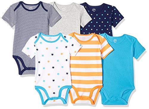 Amazon Essentials Body a maniche corte,  Confezione da 6, Uni Star Stripe Orange, Prematuro