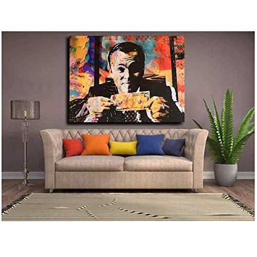 nr El Lobo de Wall Street Carteles Película Pintura al óleo Dormitorio Colgante Pintura Decorativa Arte de la Pared Lienzo Imágenes -50x70cm Sin Marco