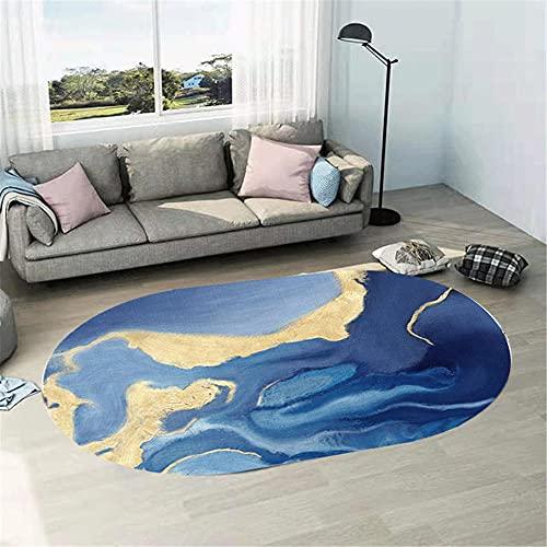 WCCCW Azul Amarillo Abstracto Tinta Pintura patrón Oval Resistente al Desgaste antiincrustante Sala de Estudio salón Mesa de café Decorativo alfombra-80x120cm Suave Moderna Alfombra Antideslizante Al