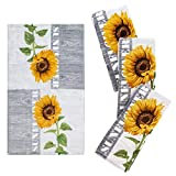 Franco Kitchen Designers Set of 4 Decorative Soft and Absorbent Cotton Dish Towels, 15' x 25', Sunflower Country