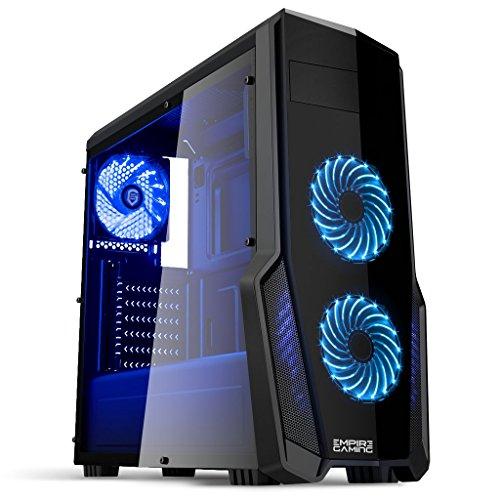 Empire Gaming - Case PC Gaming WarFare Nero LED Blu: USB 3.0 e 3 Ventole LED 120 mm, parete laterale trasparente affumicato - ATX / mATX / mITX