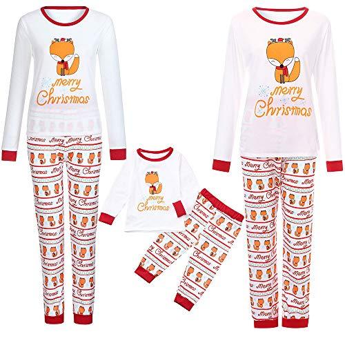 YUYOUG 2PCS Famille Matching Noël Pyjama Set, Enfants de Noël Maman Papa Cartoon Fox Lettre Imprimer Haut Tops + Pantalon Famille Vêtements Pyjamas (XXL, pébé)