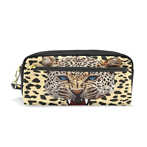 Trousse, imprimé léopard Voyage Maquillage Pouch Grande capacité étanche Cuir 2 compartiments pour filles garçons femmes Hommes