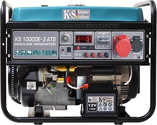Könner & Söhnen KS 10000E-3 ATS Stromerzeuger, 18 PS 4-Takt Benzinmotor, E-Start, Notstromautomatik, Automatischer Spannungsregler, 1x16A (400V/230V) Generator, für privaten oder gewerblichen Gebrauch