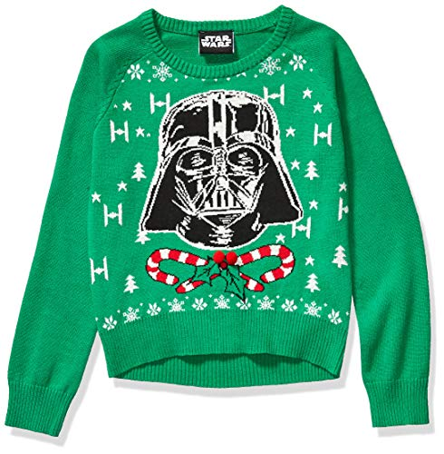 Star Wars Girls' Ugly Christmas Sweater, Vader/Green, Large (10/12)