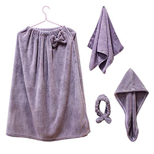 Quanerba Juegos de Toallas de baño para Mujer, Toalla de Sauna +Toallas para Secar el Pelo +SPA Hairband +Toalla de Mano, Suave Microfibra Secado Rápido Coral Fleece Toallas (Violeta)