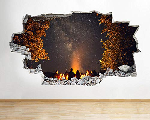 Adesivi murali Camping Fire Night Stars Sky Smashed Decal 3D Art Vinyl Room H678