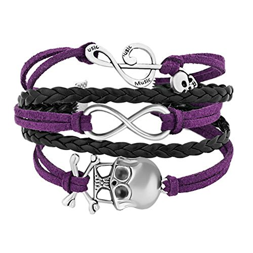 Uniqueen Braided Leather Wrap Bracelet Sideways Infinity Skull Music Note Womens Girls Wristband Bracelets (Black & Purple)