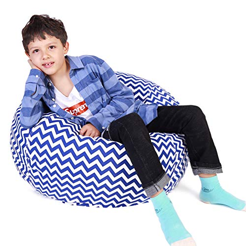 Kids Bean Bag | Large Bean Bag | Toy Storage | Children's Chair Cover | Soft Toy Bag | Kids Toys Organizer | Bean Bag Cover | Comfy Chair Comfortable Seating for Kids Blue Wave Stripes