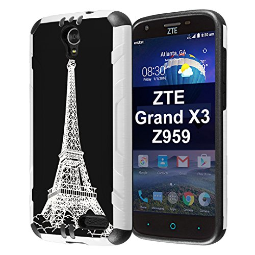 Capsule Case Compatible with ZTE Grand X3, ZTE ZMAX Grand, ZTE ZMAX Champ, ZTE ZMAX 3, AVID 916, ZTE Warp 7 [Slim Dual Layer Combat Case White and Black] - (Eiffel Tower Paris)